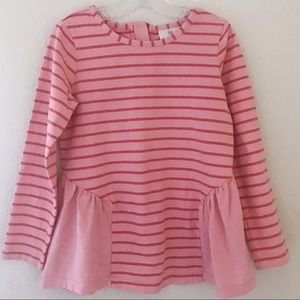 Hanna Anderson pink stripes long sleeve shirt 6/7